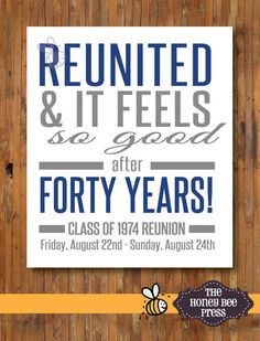 Image result for ideas for decorating a guest table for class reunited and it feels so good high school reunion invitations family reunion invitation item 0288 the honey bee press stopboris Image collections