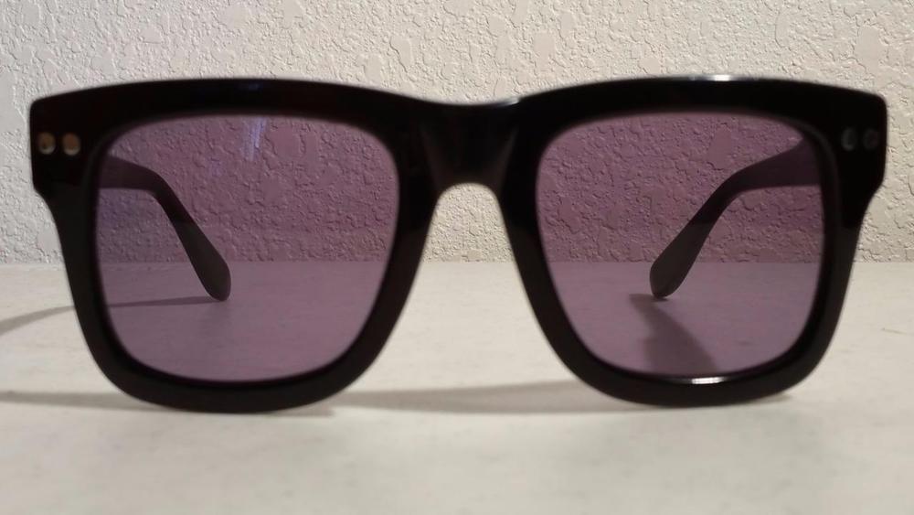 Derek Lam DYLZ Sunglasses Gloss Black Frame Purple Gray Lenses 52 ...