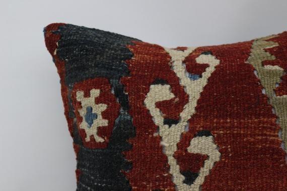 Antibacterial Pillow, Geometric Pillow, Kilim Pillow 16x16, Red Pillow, Traditional Pillow, Pillow C