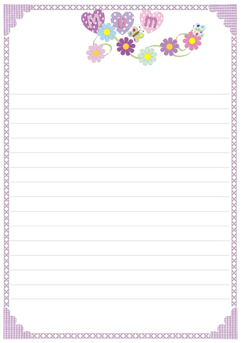 Mothering Sunday Borders | Lined stationery | Lined writing