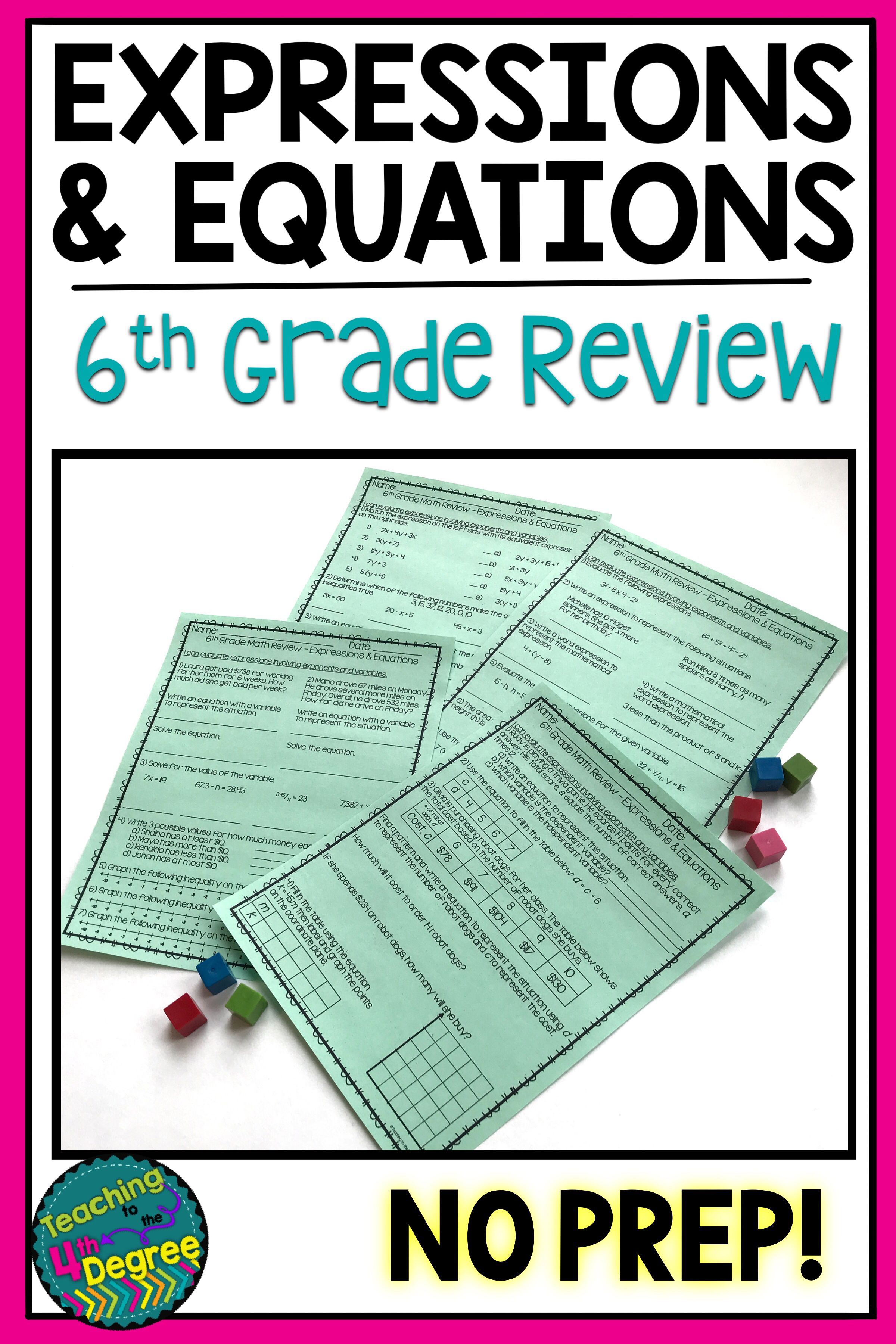 6th Grade Expressions Amp Equations Review