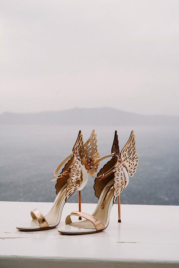 These 13 Real Brides Wore The Coolest Shoes Gold Wedding Shoes Rose Gold Wedding Shoes Sophia Webster Heels