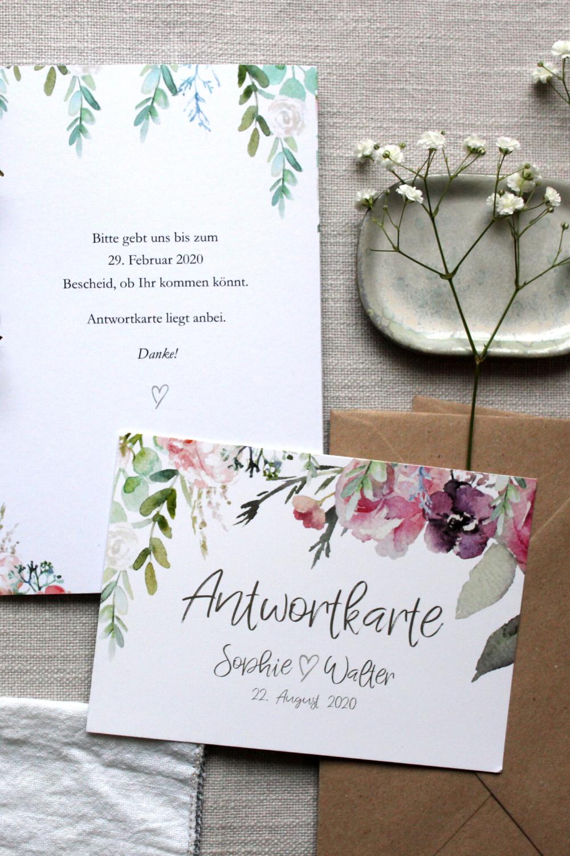 Floral Wedding Invitation Answer Card Postcard Answer Cards Wedding Reply Invitation Invitation Cards Wedding In 2020 Hochzeitseinladung Antwortkarten Personliches Hochzeitsgeschenk