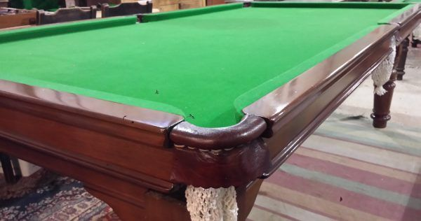 8ft Riley mahogany antique snooker dining table B742 | Browns Antiques Billiards and Interiors.