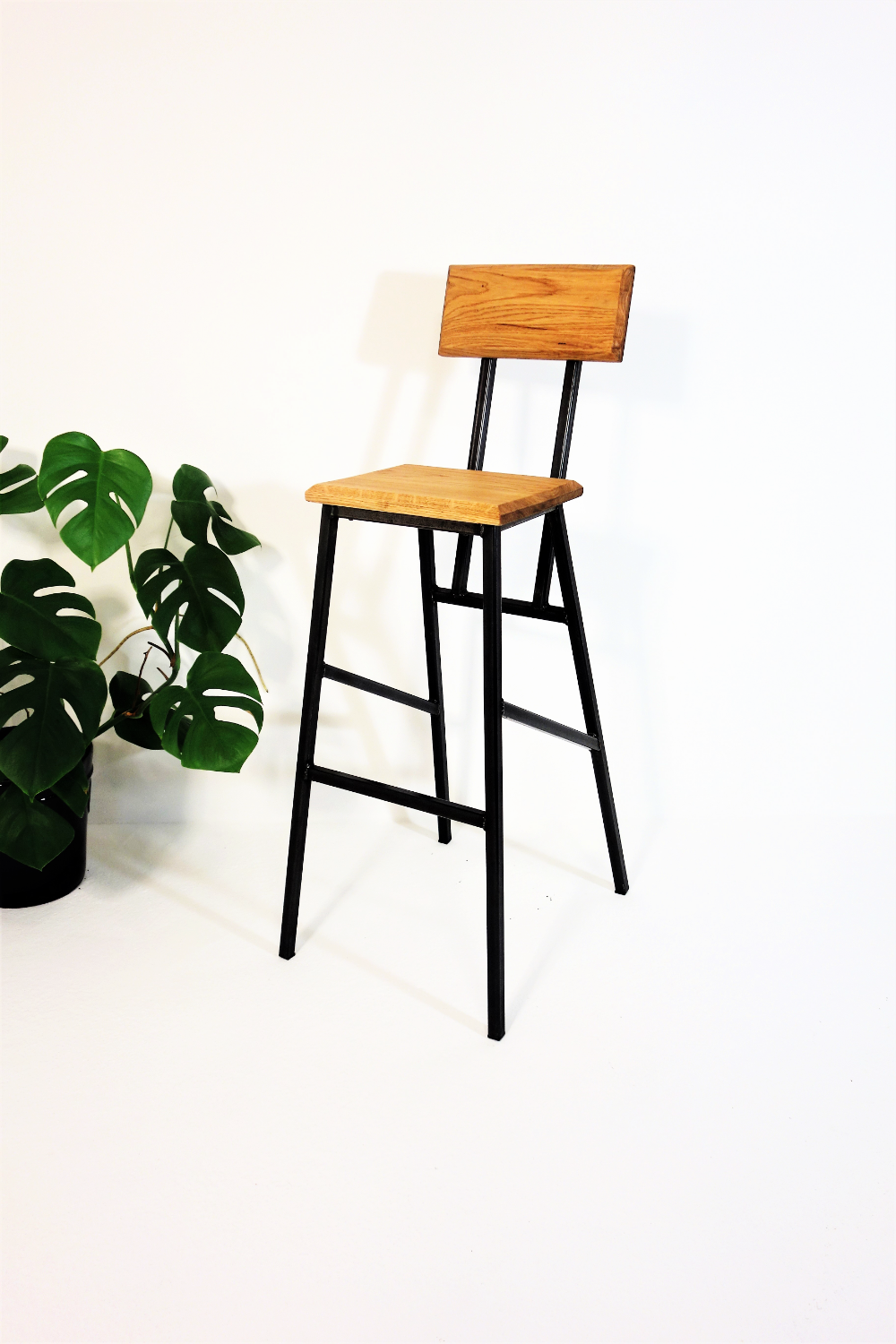24 7 Retro Industrial Style Bar Stool With Backrest Bar Stools