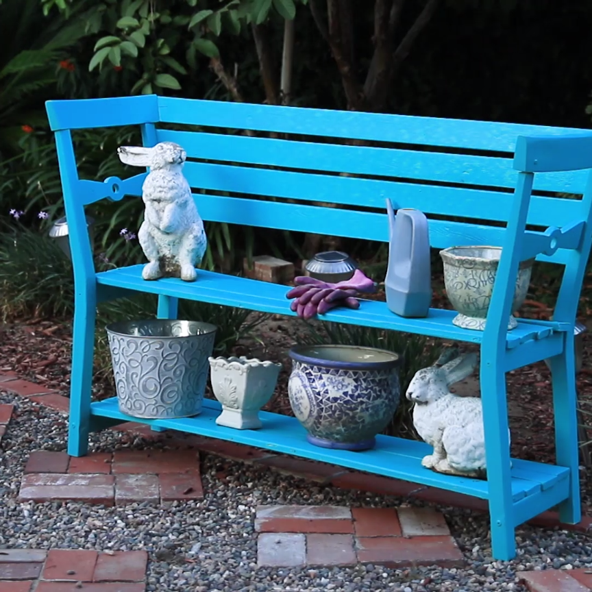 convert two wooden chairs into this adorable garden bench bench
