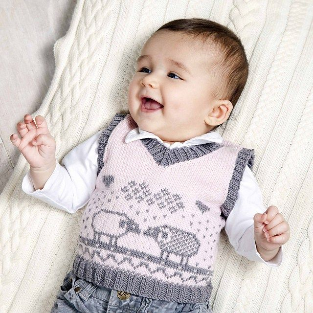 Free knitting pattern for Milly baby vest tank top with sheep motif ...
