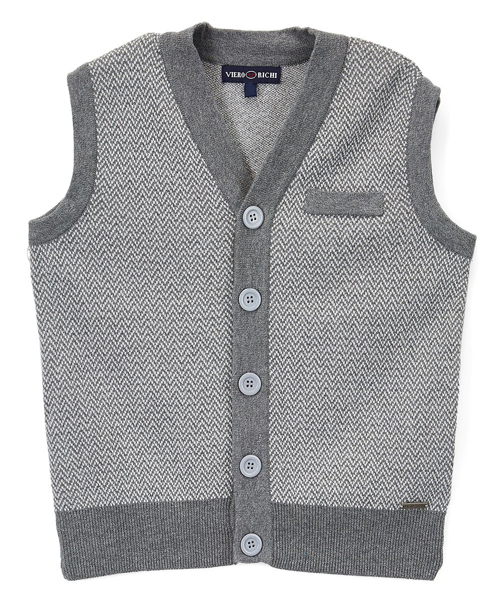 Gray Herringbone Button-Up Sweater Vest - Toddler & Boys ...