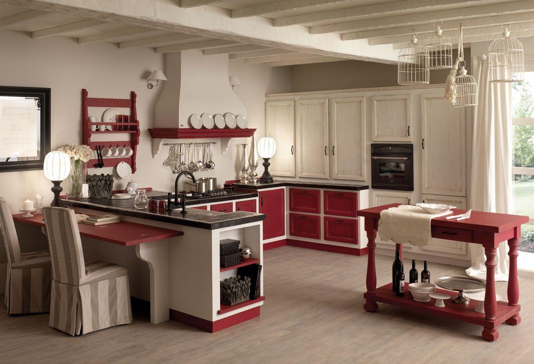 Cucine zappalorto solaia rosso e bianco antiquariato con effetto muro bianco frattonato e - Cucine zappalorto moderne ...