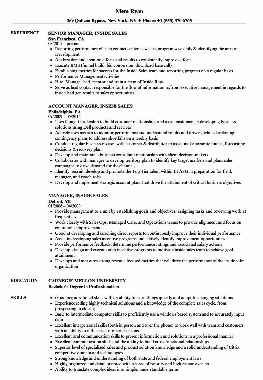 Inside Sales Resume Examples Inspirational Manager Inside