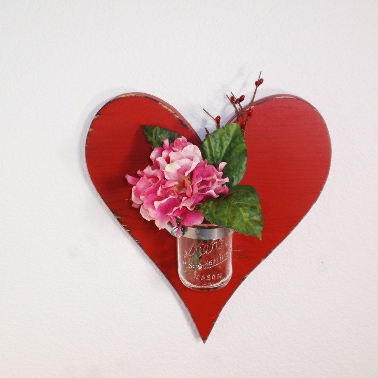 Handcrafted Wooden Heart Wall Vase Mason Jar Vase Red