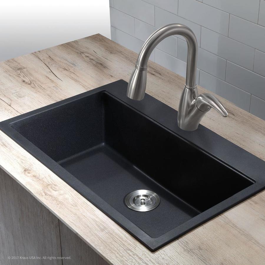 Kraus Granite Dual Mount 30 75 In X 20 13 In Black Onyx Single Bowl 1 Hole Kitchen Sink Lowes Com Top Mount Kitchen Sink Drop In Kitchen Sink Granite Kitchen Sinks