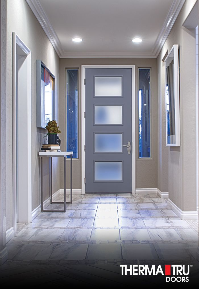 80 Therma Tru Pulse Ari Fiberglass Door Painted Mineral Gray With