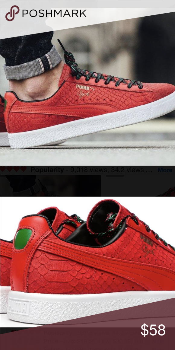 reputable site d934a bb9bb Puma Shoes | Puma Clyde Red Suede Leather Rasta Sneakers ...
