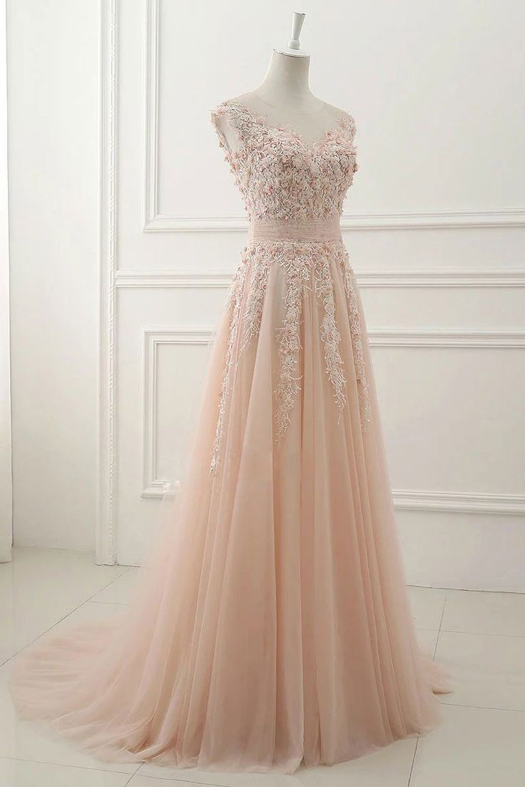 Beautiful lace appliqued pink tulle modest prom dressball gowns