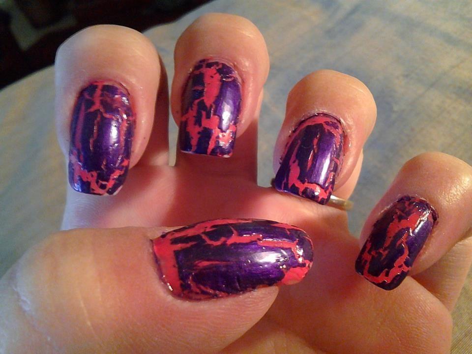 My Natural Nails With China Glaze Purple Crackle Nail