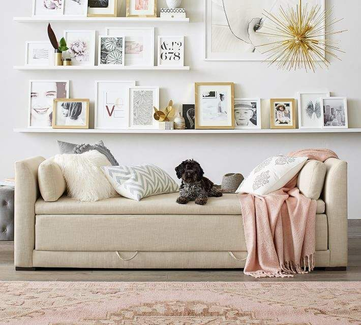 Luna Upholstered Daybed Sleeper Gallery Wall Living Room