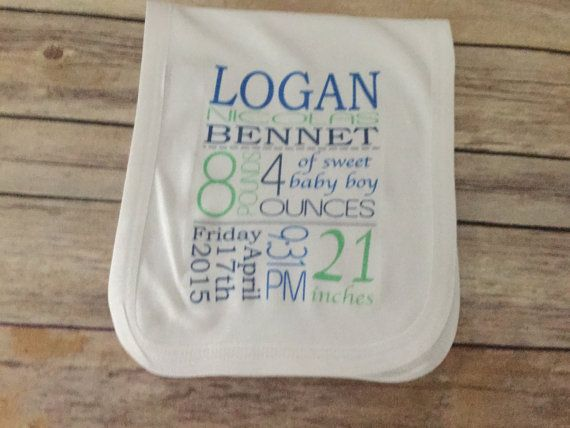 Made to order baby birth announcement burp cloth birth made to order baby birth announcement burp cloth birth announcement onesie blanket cloth burp rag custom personalized boy girl weight length date time name negle Gallery