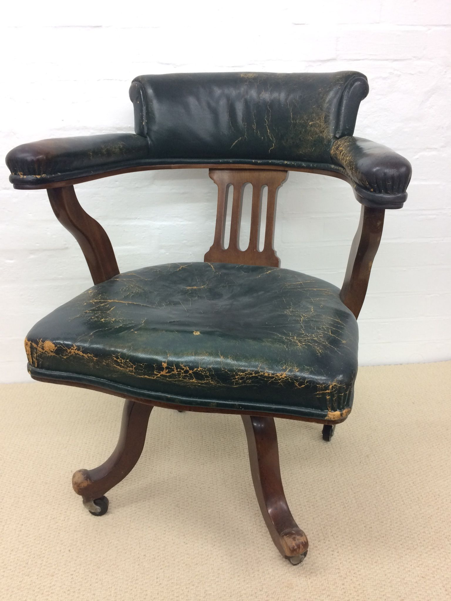 Edwardian leather office chair for sale at www