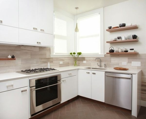 küche weiß ausstatten - 41 interessante Küchenspiegel Ideen für ...