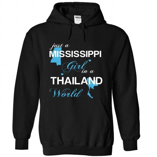 WorldBlue Mississippi-Thailand Girl - #gift wrapping #student gift. LIMITED AVAILABILITY => https://www.sunfrog.com//WorldBlue-Mississippi-Thailand-Girl-2533-Black-Hoodie.html?68278