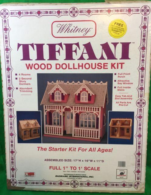 Vintage Whitney Tiffani Wood Dollhouse Kit In Original Box 2 Story