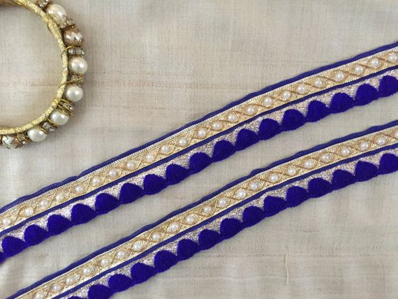 Blue Embroidery Indian Zari Trim, Zari Soft Gold Fabric White Beads Lace, Woollen Embroidery, Blue Bridal Sari Border, 2.5cm W Price per mtr #indianbeddoll