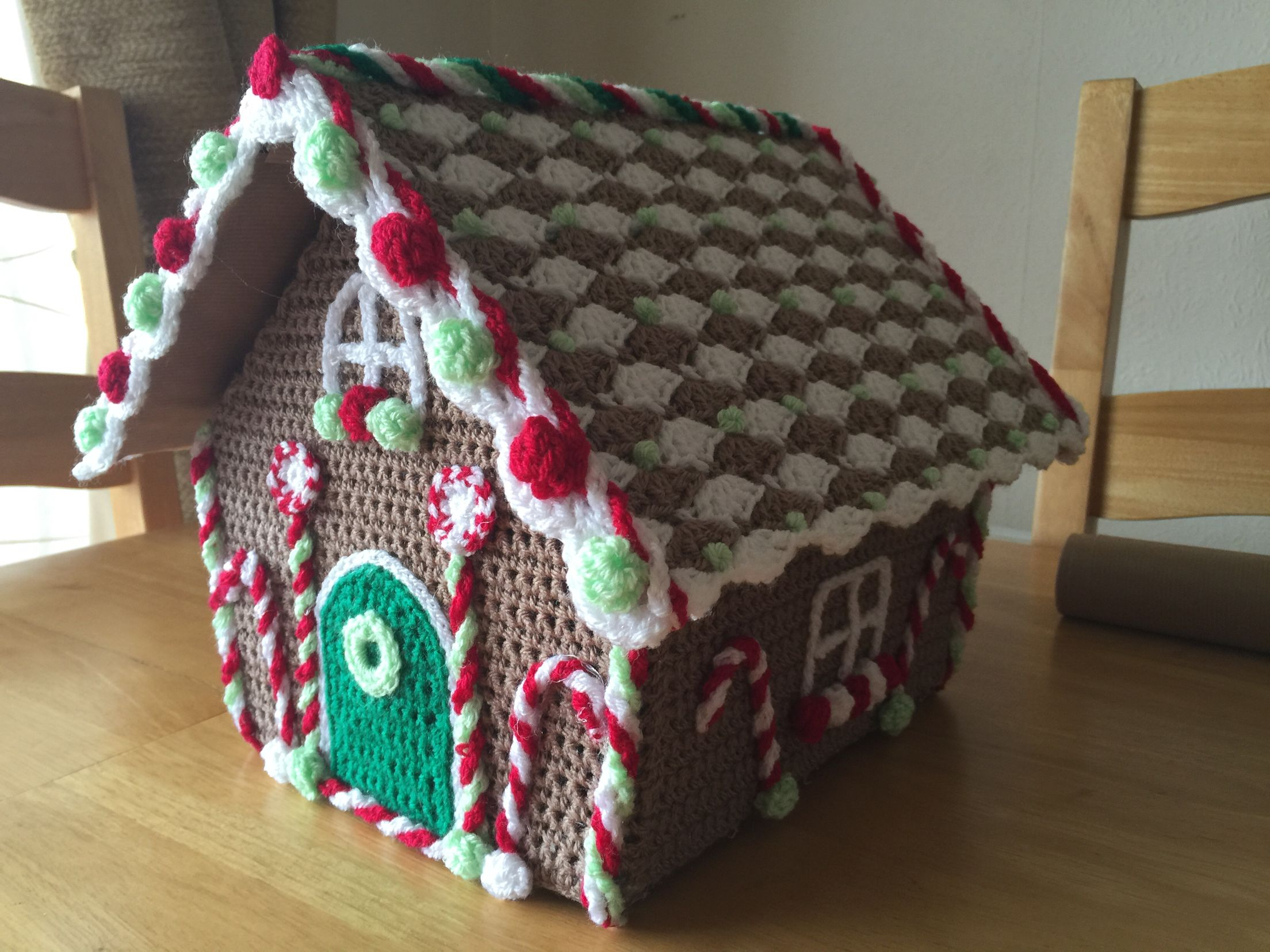 Crochet Gingerbread House, with hinged roof to fill with stocking ...