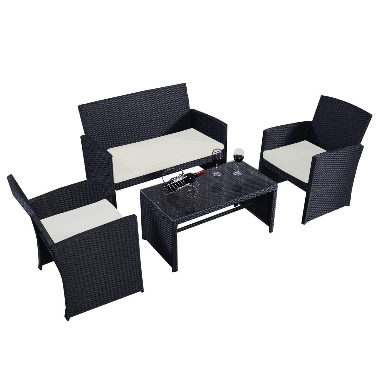 Costway pc rattan patio furniture set garden lawn sofa wicker