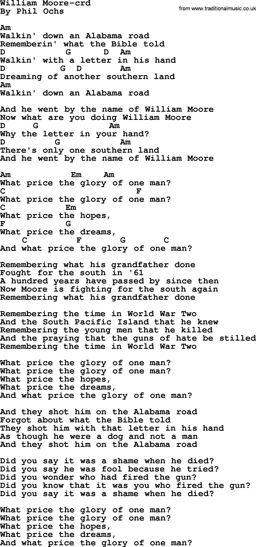 Phil ochs song william moore by phil ochs lyrics and chords phil ochs song william moore by phil ochs lyrics and chords hexwebz Gallery