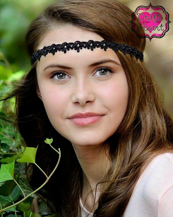 Black Boho Headband - Adult Boho Headband - Bohemian Headband - Boho -  Bohemian - Forehead Headband 0371b7b2b85
