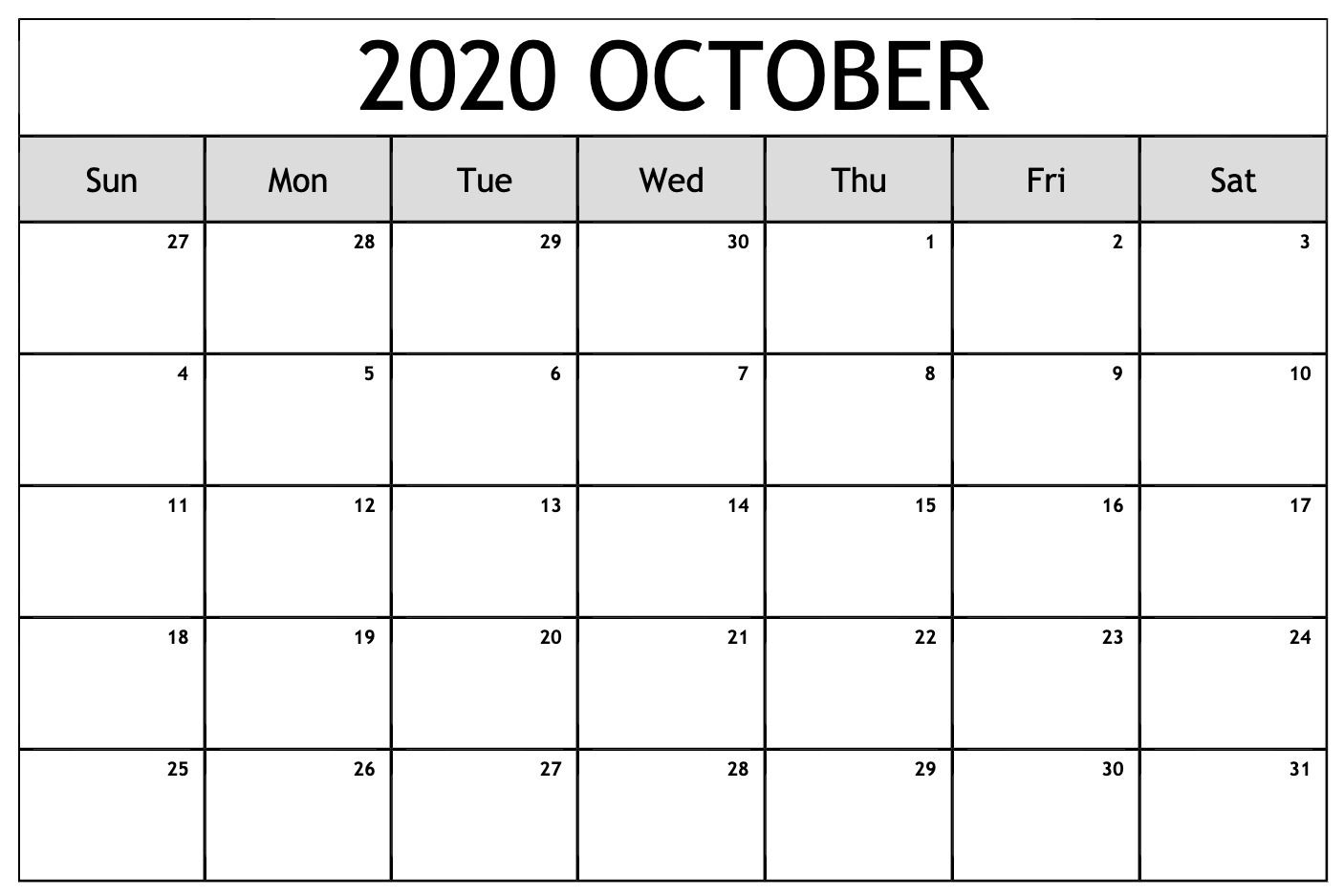 Free Printable October Calendar 2020 Pdf Templates In 2020