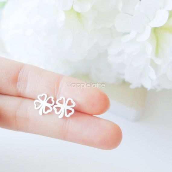 four clover earrings good luck jewelry by applelatte on Etsy