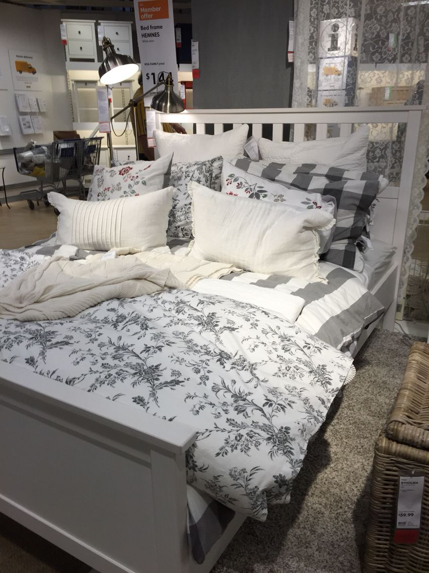 Ikea Hemnes Bed For Guest Bedroom Love The Grey And Floral Looks So Cozy Basement