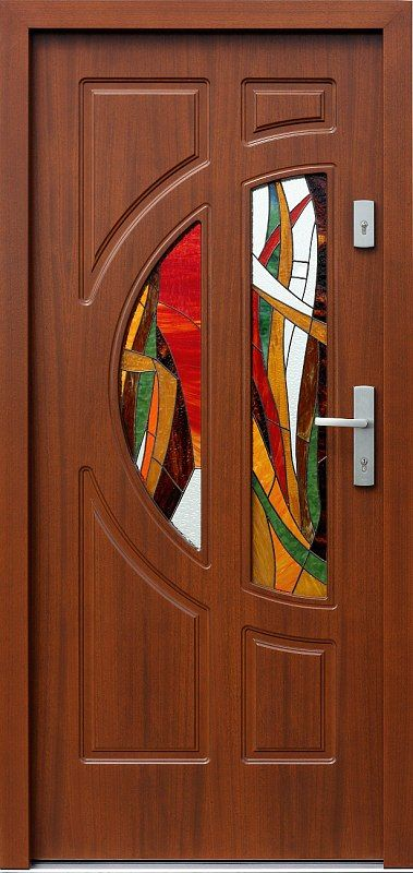 Exterior wooden doors with glass model 599s2 + ds6 in color …