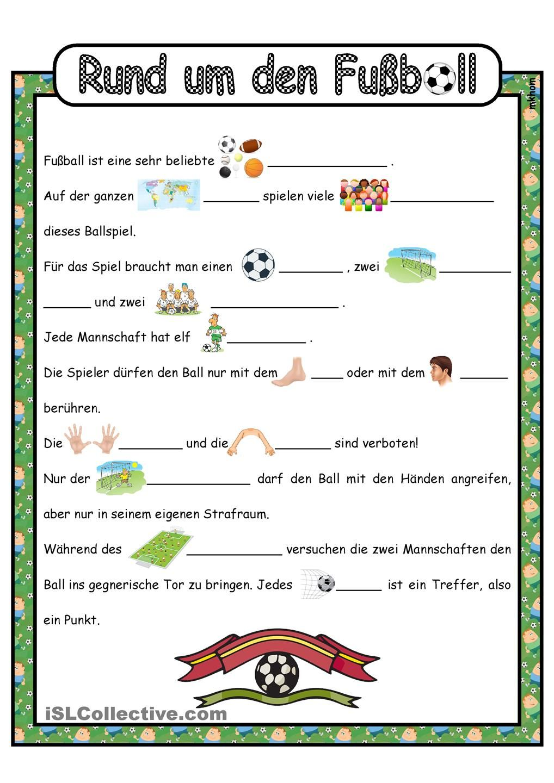 Lückentext _ Fußball, eine Ballsportart | Education | Pinterest ...