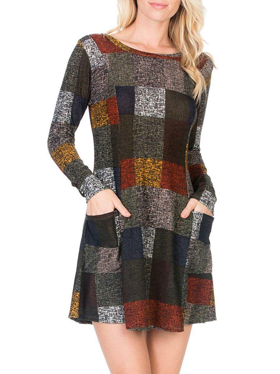 9834dbf0007 Midi Round Neck Printed Daily Shift  Dress  shiftdress