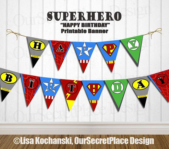Instant download editable superhero banner super hero for Decoration chambre super heros