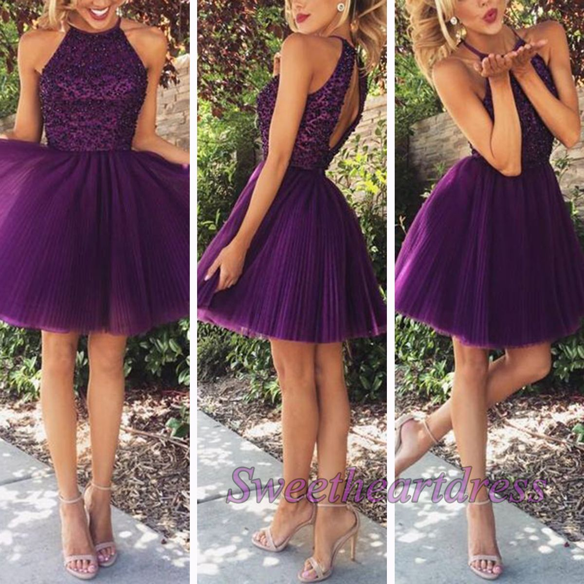 Cute purple tulle short prom dress, occasion drress, prom ...