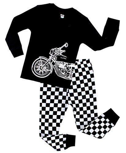 5b3d23538aa4 Boys Pajamas Motorcycle Children Christmas Clothes 100% Cotton Size ...