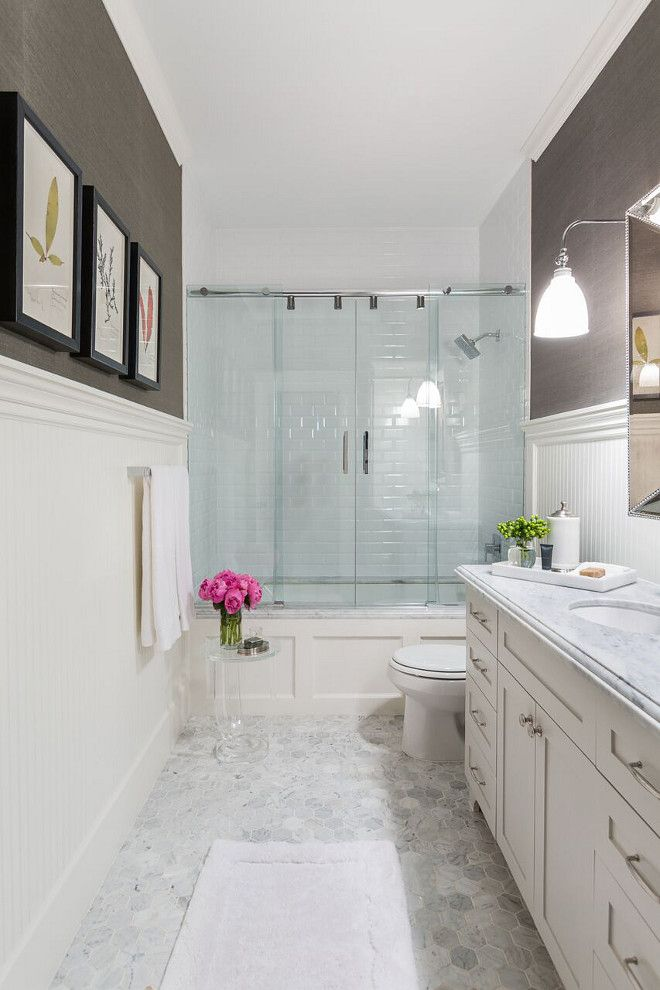 Classic Bathroom Wainscoting Gorgeous With Beadboard Wallpaper And Large Hex Marble Floor Tile Wai