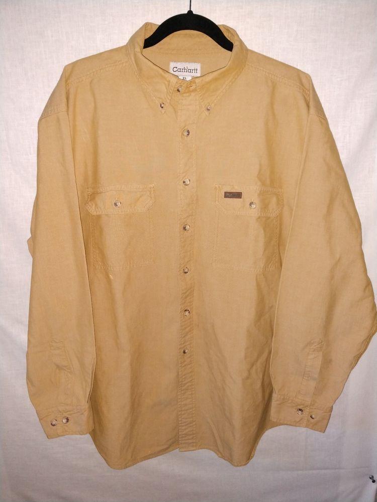 Carhartt Used Men/'s Short Sleeve Work Shirt  Tan