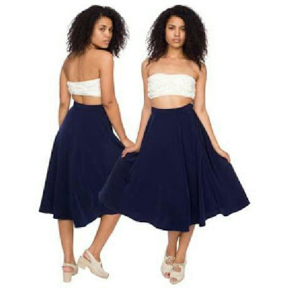 "AA blue midi skirt Gorgeous polyester midi skirt in navy blue by american apparel. Buttons on the side and zips up. 22""   hits below knee unless you wear very high waisted then its shorter American Apparel Skirts Midi"
