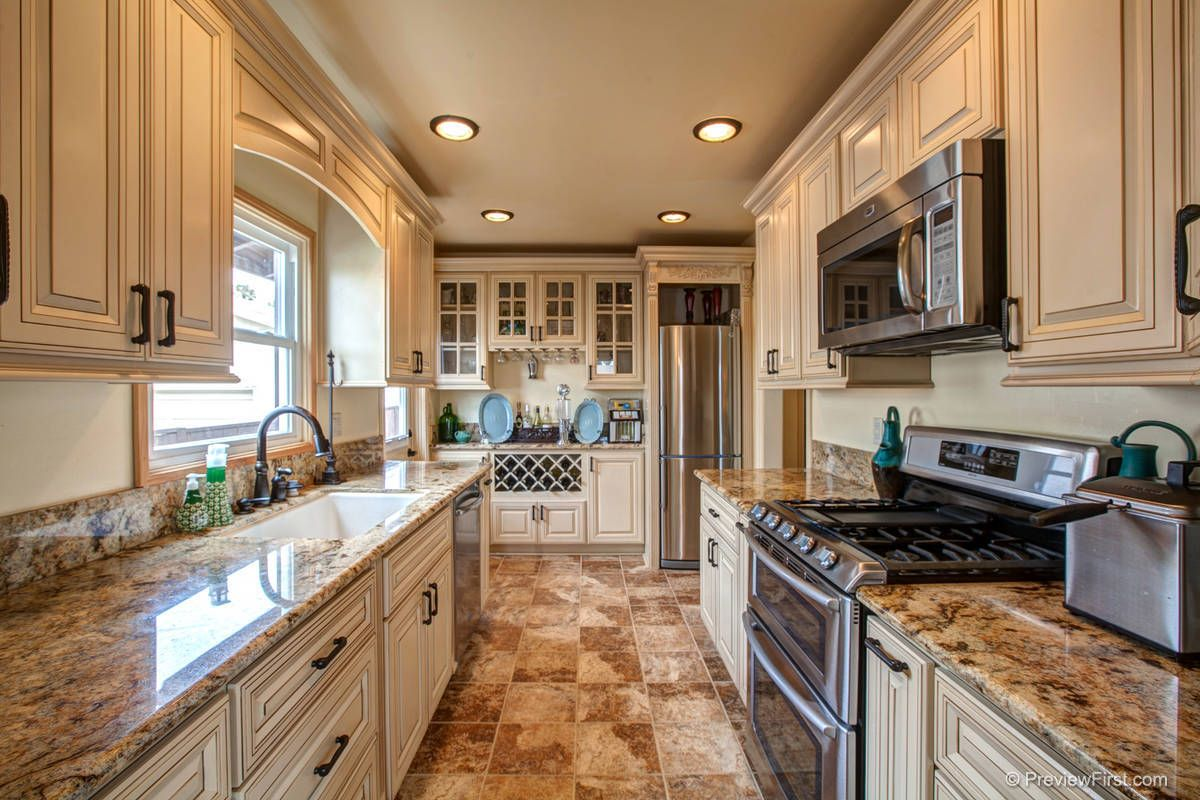 Fully Custom Remodeled Kitchen granite counter tops self closing Maple glazed Antique White