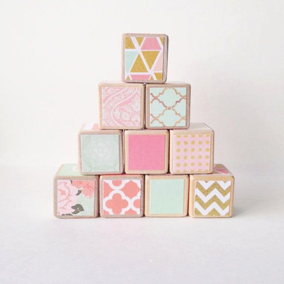 Pink Mint And Gold Nursery: Coral Mint And Gold Nursery Decor. Toy. Wooden Baby By