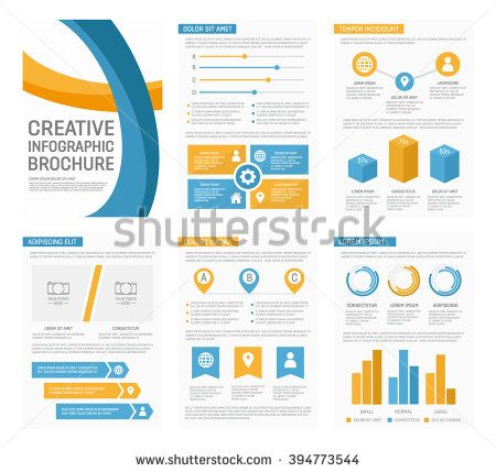 Vector template for multipurpose presentation slides with graphs and ...