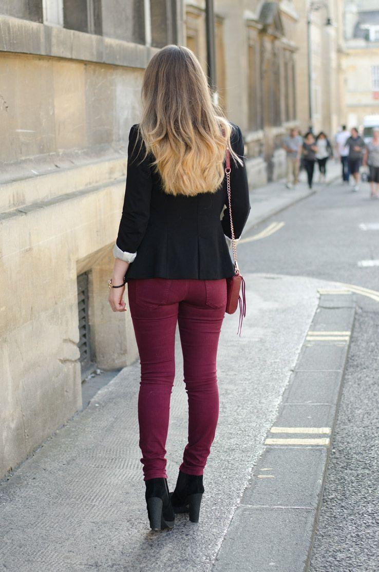 985115a93a9 An outfit I wore to TGI Fridays featuring a Zara blazer, koral burgundy  jeans, a choies panda top, rebecca minkoff mini mac and kurt geiger boots