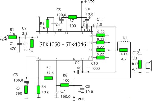 stk 4050 - 200watt power amplifier circuit