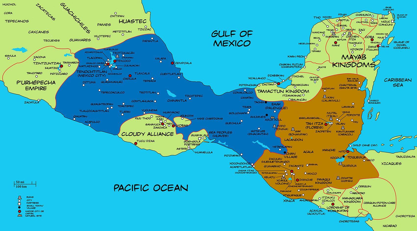 Alternate History Map Of Mesoamerica By Plumed Serpentviantart On Deviantart