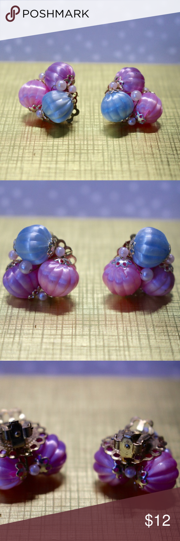 """🆕Cotton Candy Earrings 🔹Pastel pink, purple, & blue beaded earrings with miniature pearls.🔹Gold tone accents.🔹Signed """"Japan"""".🔹Vintage clip-ons.🔹Reasonable offers welcome or bundle for discount! Vintage Jewelry Earrings"""